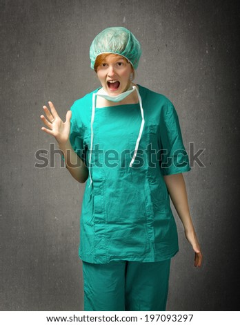 medic unbelievable expression - stock photo