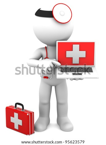 Medic with laptop. Isolated on white - stock photo