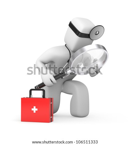 Medic with magnifying glass exploration something - stock photo