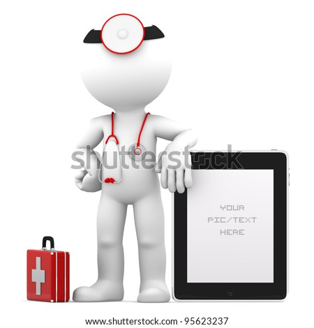 Medic with tablet computer - stock photo