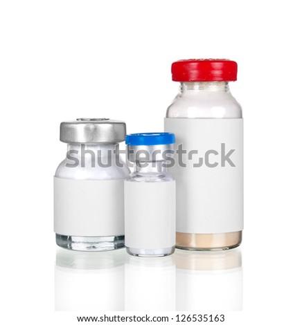 Medical ampules isolated on white - stock photo