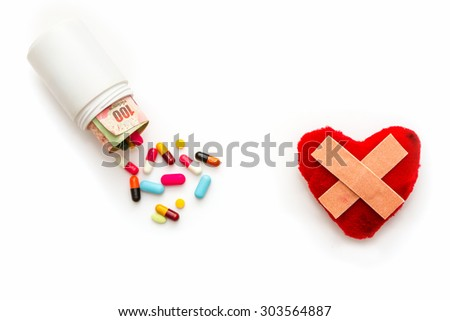 Medical and medicine for heart on white background. - stock photo