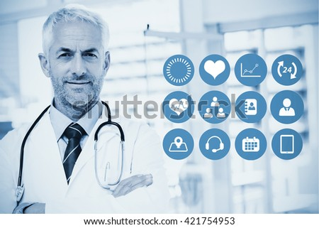 Medical app against doctor with stethoscope around his neck - stock photo