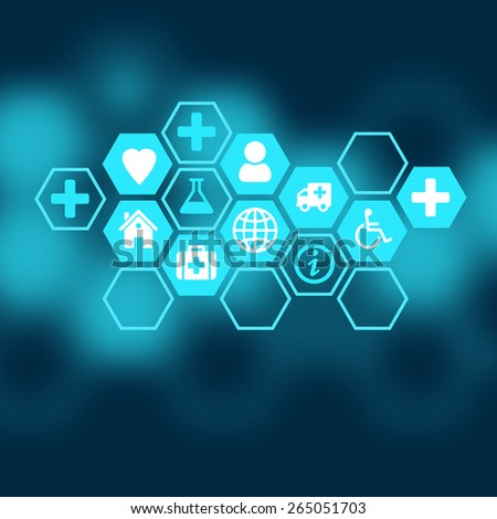 Medical background of the icons enclosed in hexagons. - stock photo