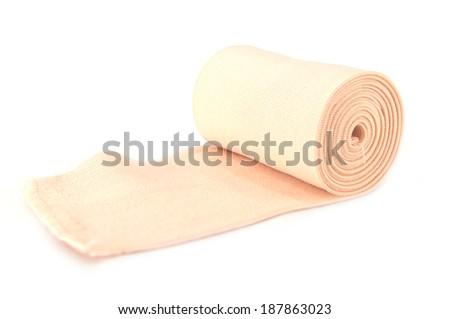 Medical bandage roll ,Elastic bandage isolated on whtie background - stock photo
