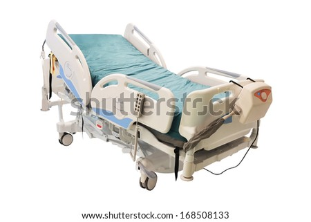 medical bed under the white background - stock photo