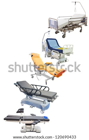 medical beds under the white background - stock photo
