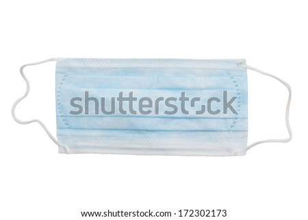 medical blue mask isolated on white background - stock photo