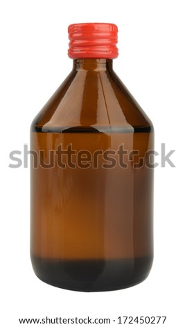 Medical bottle of brown glass with liquid Isolated on white background with clipping path - stock photo