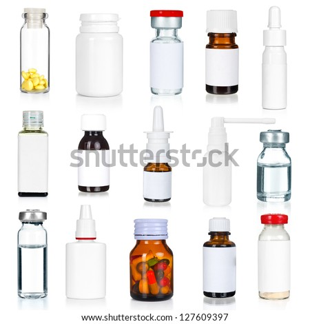 medical bottles collection isolated on white - stock photo