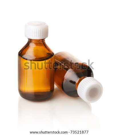 Medical bottles isolated on white - stock photo