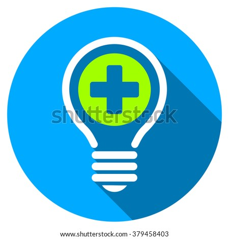 Medical Bulb long shadow icon. Style is a light flat symbol with rounded angles on a blue round button. - stock photo