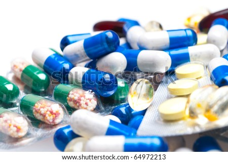 medical capsules isolated on white background - stock photo