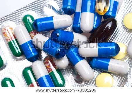 medical capsules isolated on white background - stock photo