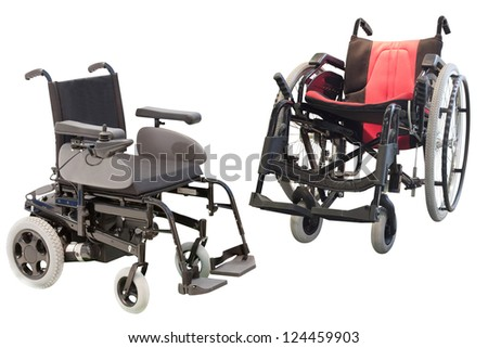 Medical chairs under the white background - stock photo