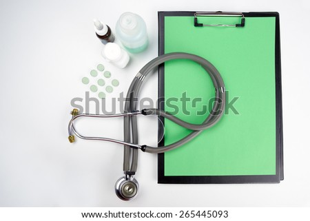 Medical clipboard and stethoscope. Concept of Healthcare And Medicine - stock photo