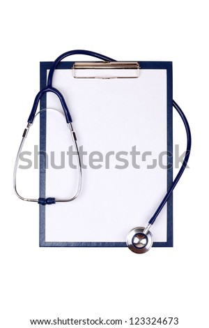 Medical clipboard and stethoscope isolated on white background - stock photo