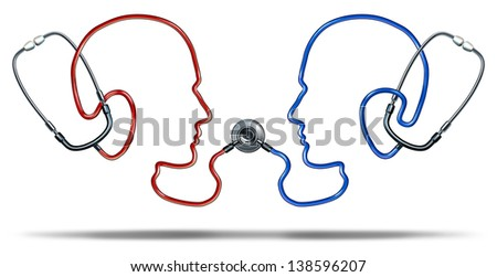 Medical communication with a group of doctor stethoscope equipment in the shape of two human heads connected together in a health care network for patient information exchange on a white background. - stock photo