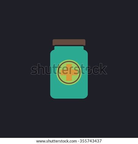 Medical container. Color flat icon on black background - stock photo