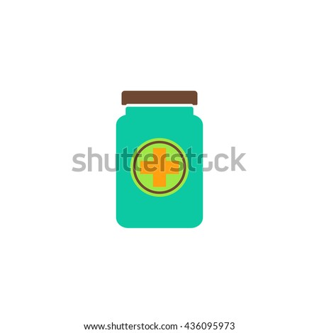 Medical container. Color simple flat icon on white background - stock photo