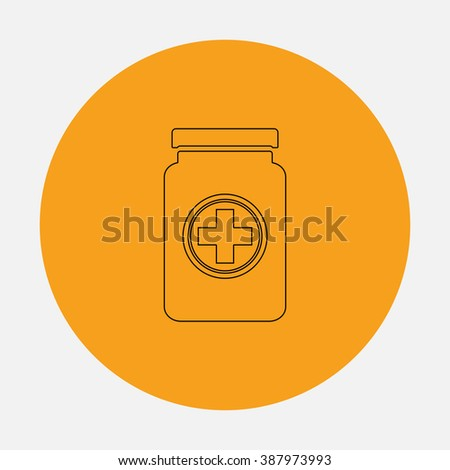 Medical container. Simple flat icon on orange circle - stock photo