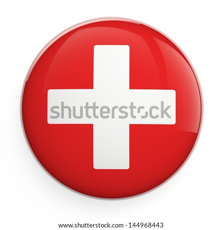 Medical cross icon isolated on white. - stock photo