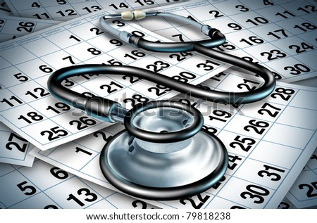 Medical delays and surgery wait times  due to the lack of resources with shortages of doctors and nurses in a hospital or clinic represesented by a stethoscope sitting on a floor of calendar pages. - stock photo