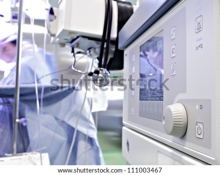 medical device in the operating room. Anesthetic machine during surgery. - stock photo