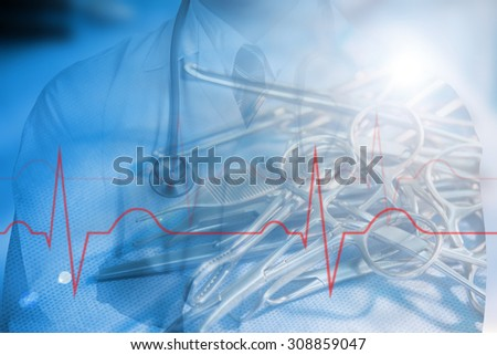 Medical doctor Holding Pink stethoscopeyour healthy concept in hospital - stock photo