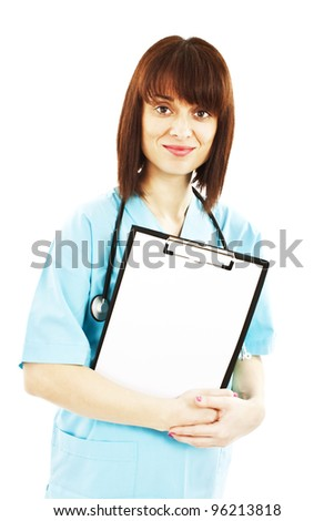 Medical doctor or nurse holding clipboard sign showing room for copyspace.  Isolated over white background - stock photo