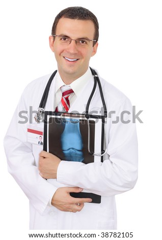 Medical doctor  stand with  a x-ray image and medical pad. Smiling. Isolated - stock photo