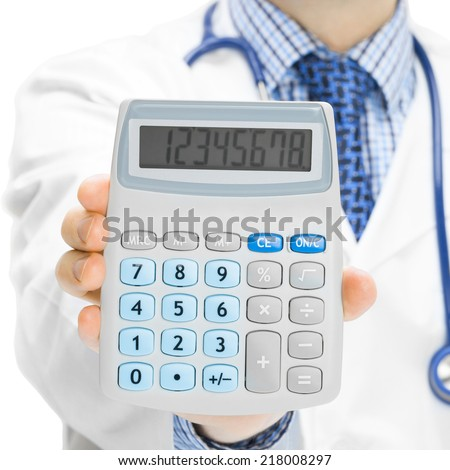 Medical doctor with calculator in his hand - 1 to 1 ratio - stock photo