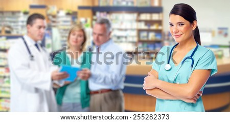 Medical doctor woman over health care background - stock photo