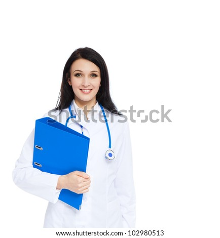 medical doctor woman smile with stethoscope and blue folder. Isolated over white background - stock photo