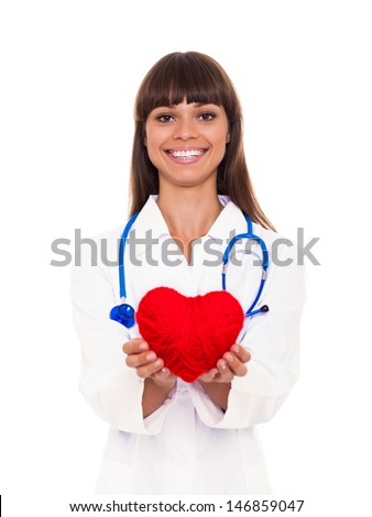 medical doctor woman smile with stethoscope hold red heart. Nurse Isolated over white background - stock photo