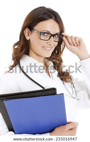 medical doctor woman with stethoscope. Isolated over white background - stock photo