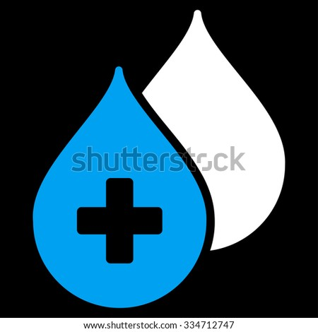 Medical Drops glyph icon. Style is bicolor flat symbol, blue and white colors, rounded angles, black background. - stock photo