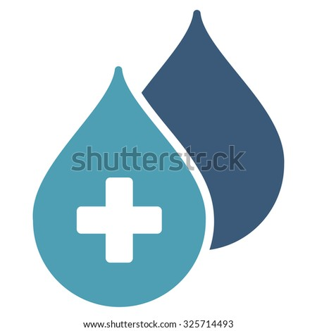 Medical Drops glyph icon. Style is bicolor flat symbol, cyan and blue colors, rounded angles, white background. - stock photo