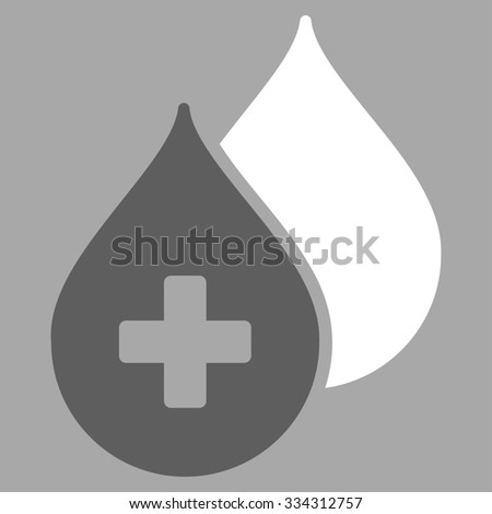 Medical Drops glyph icon. Style is bicolor flat symbol, dark gray and white colors, rounded angles, silver background. - stock photo