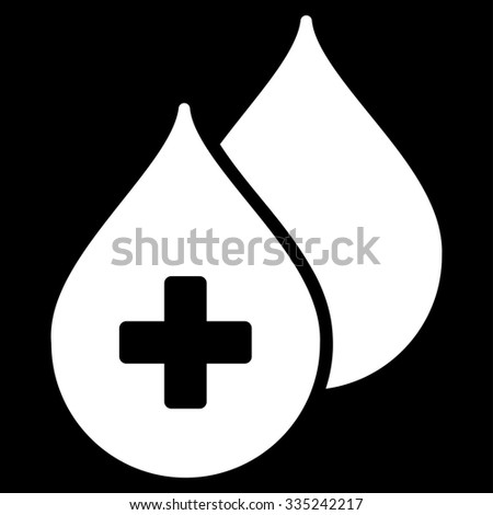 Medical Drops glyph icon. Style is flat symbol, white color, rounded angles, black background. - stock photo