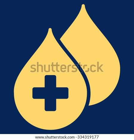 Medical Drops glyph icon. Style is flat symbol, yellow color, rounded angles, blue background. - stock photo