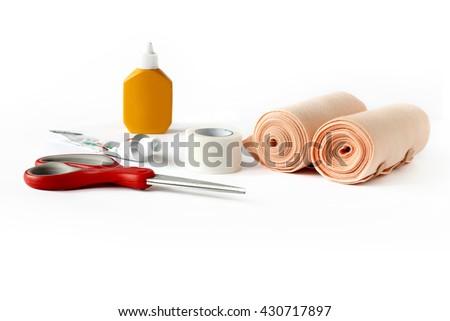 Medical elastic bandage rolls, bandage, first aid equipment, medicine white background. - stock photo