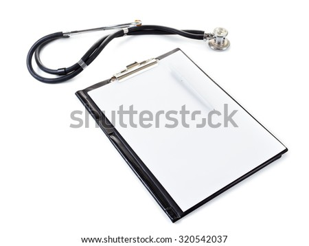Medical elements - stetoscope. Isolated on white background - stock photo