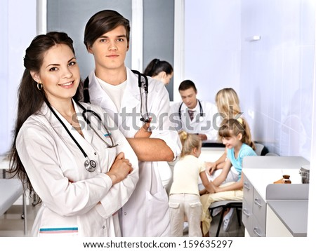 Medical examination of child at office. - stock photo