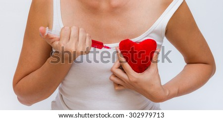 Medical for heart on white background. - stock photo
