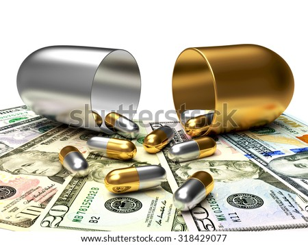 Medical golden and silver capsules spilled out of an open capsule on dollar bills. High costs of expensive medication concept - stock photo
