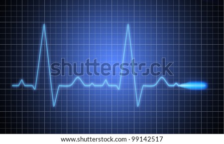 Medical heart monitor measuring heartbeat rate with blue background - stock photo