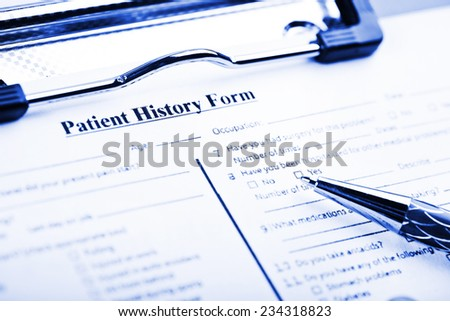 Medical history questionnaire  - stock photo