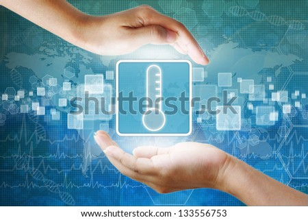 medical icon, Aids Thermometer symbol in hand - stock photo