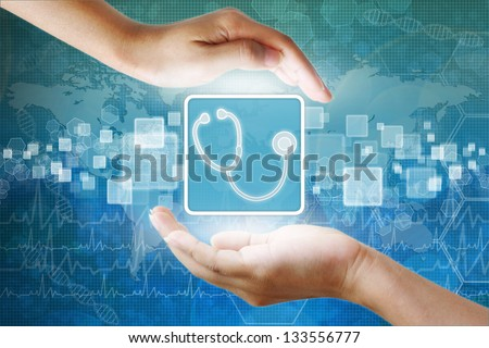 medical icon, Prescription symbol in hand - stock photo